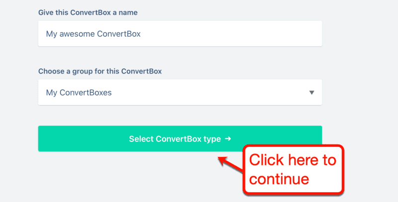 Selecting a ConvertBox Type