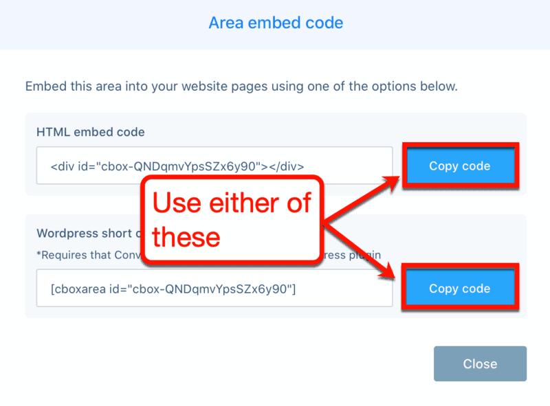 Area Embed Codes