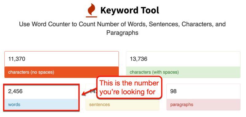 KeywordTool.io Word Counter Results