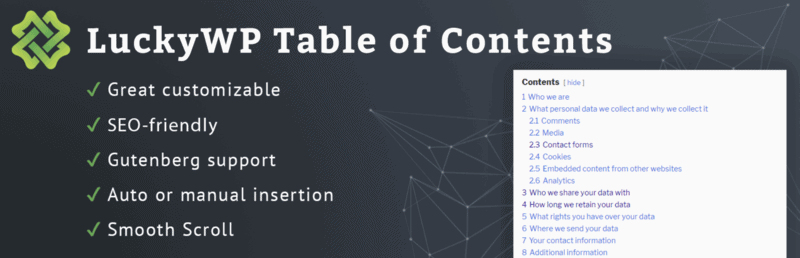 LuckyWP Table of Contents