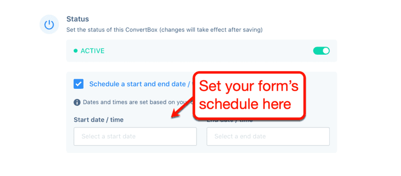 Setting Your ConvertBox's Schedule