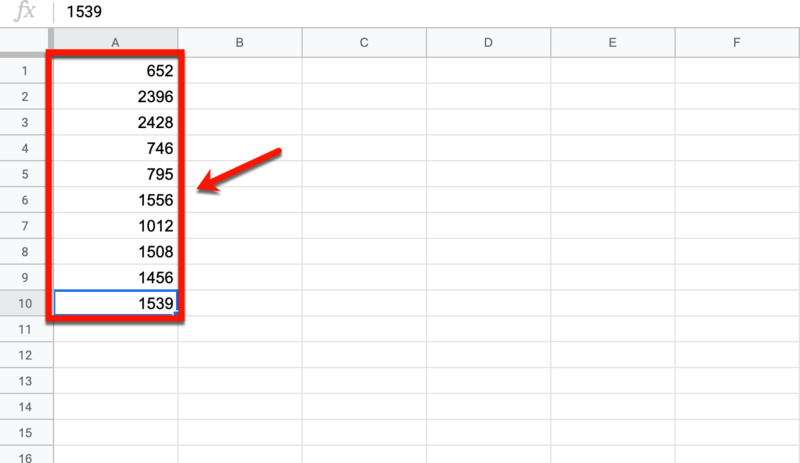 Google Sheets Word Count List