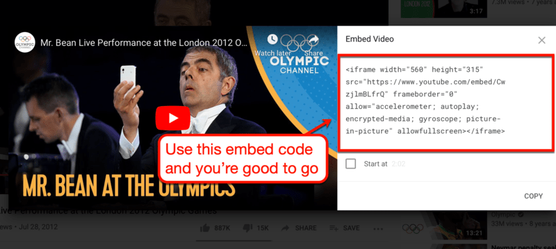 The Embed Code of a YouTube Video
