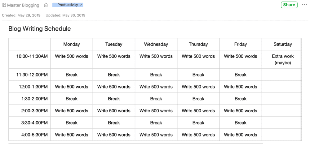 Blogging Schedule Sample