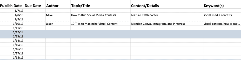 Spreadsheet editorial calendar