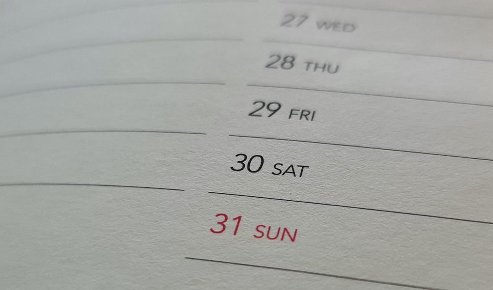 Printed editorial calendar