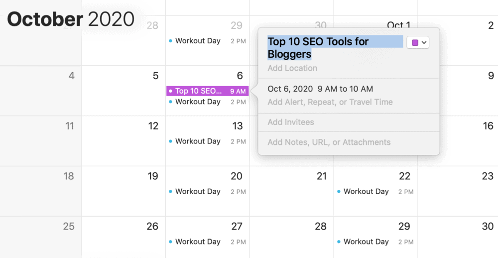 Editorial calendar using an app