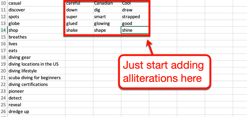 Adding alliterations to Excel spreadsheet