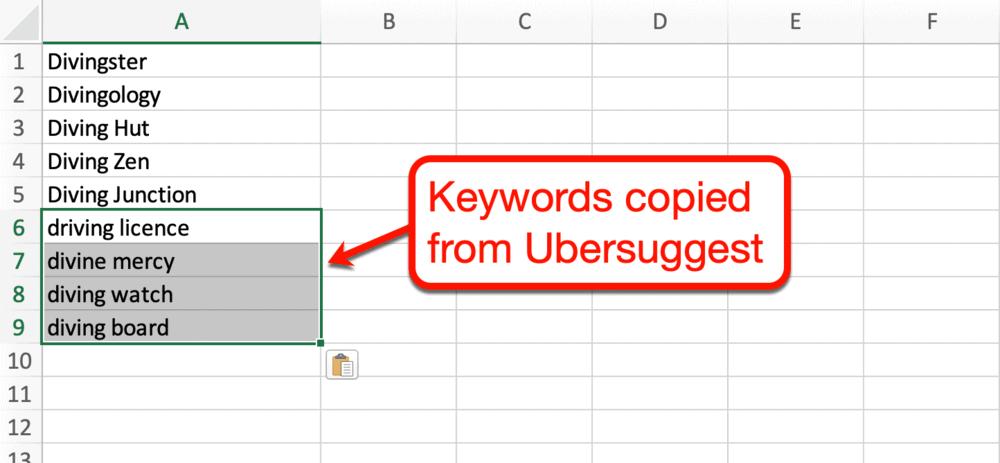 Keywords copied to Excel