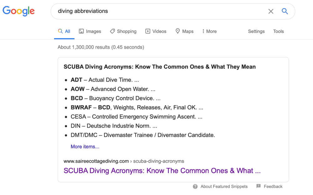 Searching for abbreviations on Google