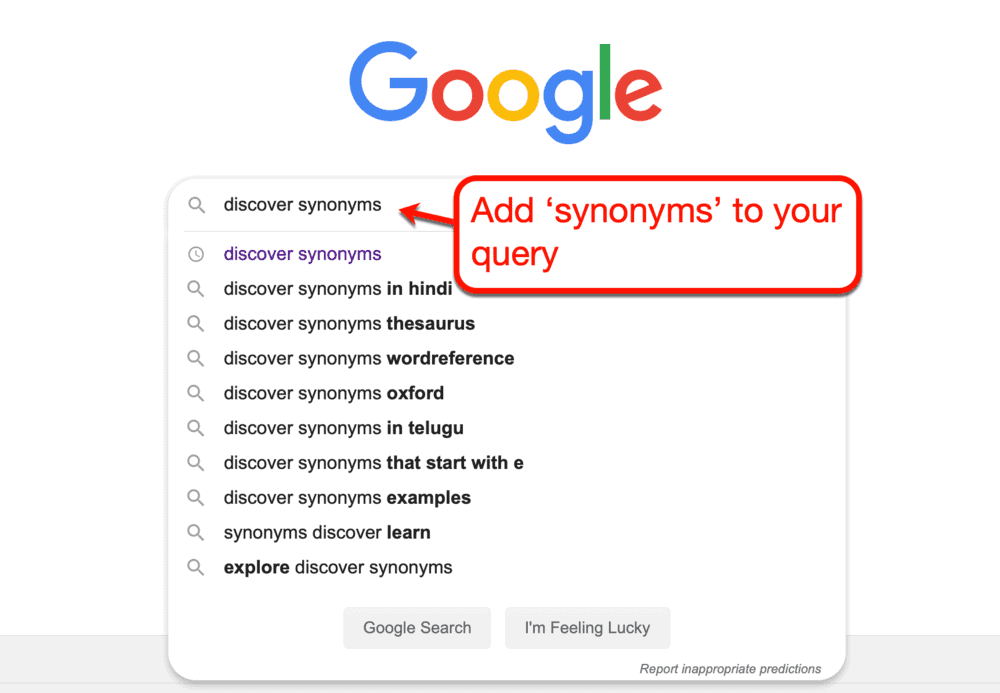 Searching for synonyms with Google