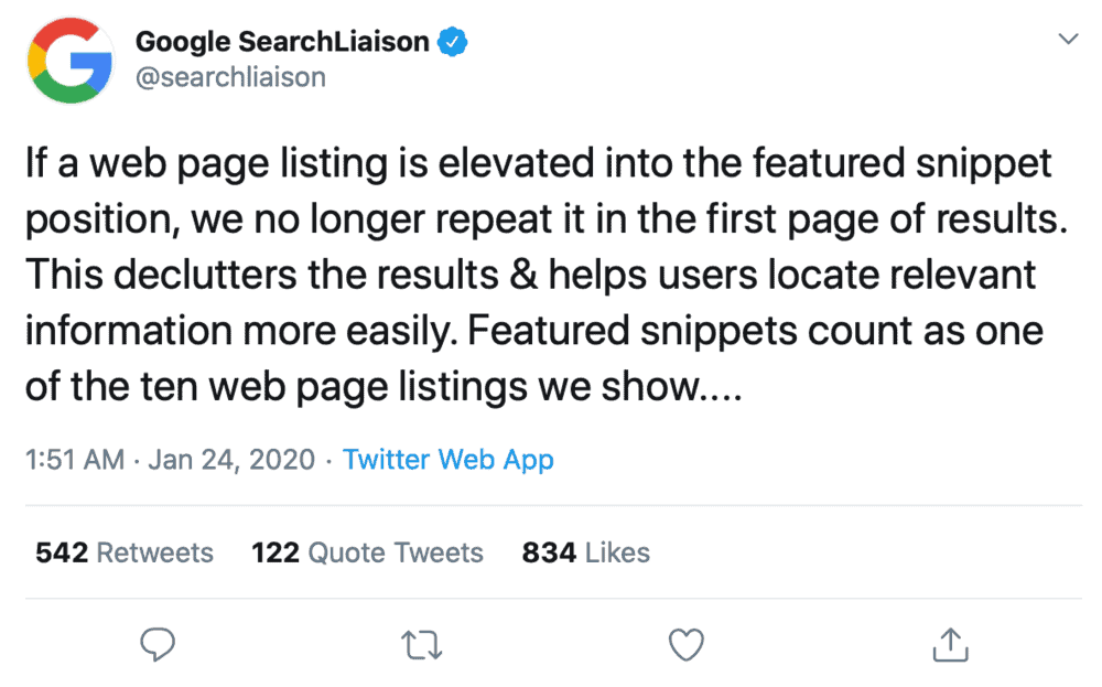 Google SearchLiaison tweet