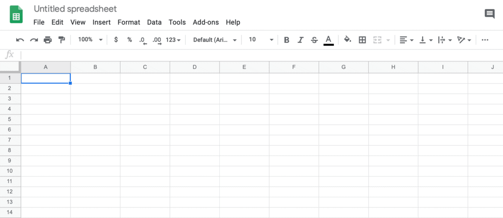 Google Sheets blank template