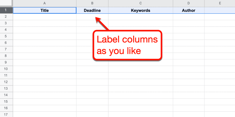 Labeling columns in Google Sheets