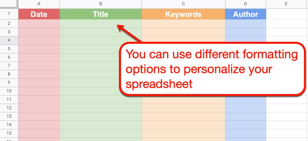 Google Sheets customizing column colors