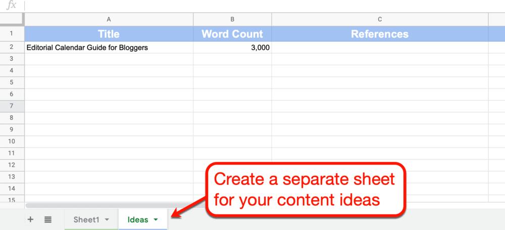 Google Sheets blog topics sheet