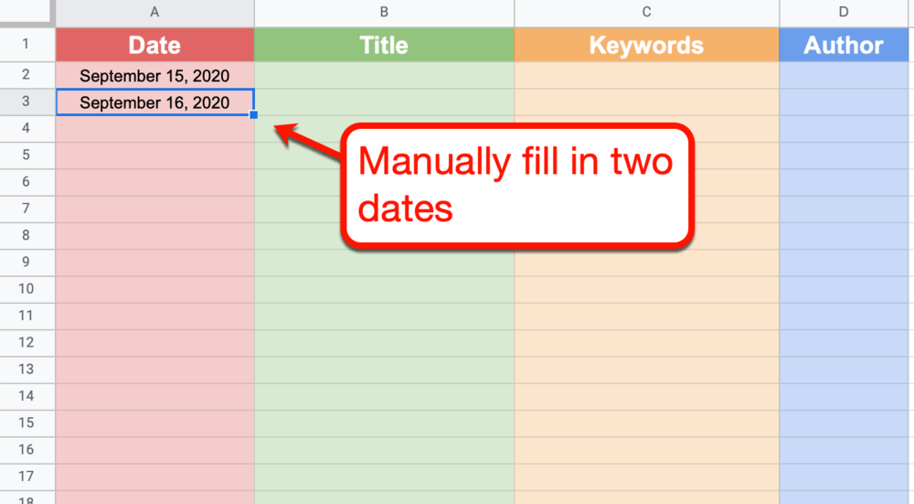 Google Sheets manually adding the first two dates