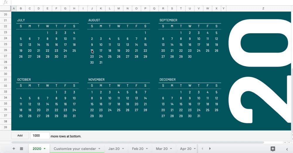 Google Sheets year view