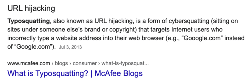 Google results for typosquatters