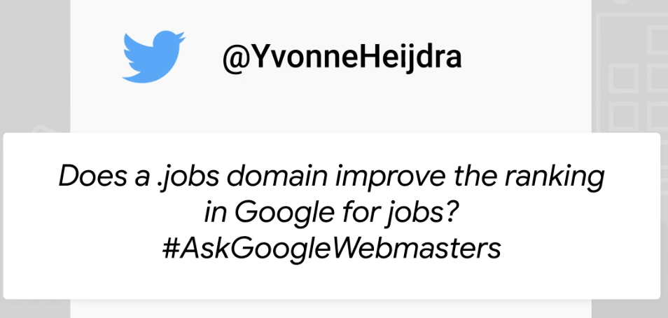 Google Webmasters question on Twitter