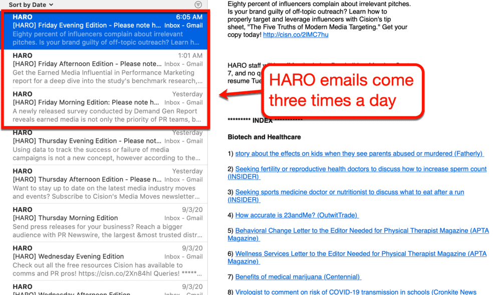 HARO email schedule