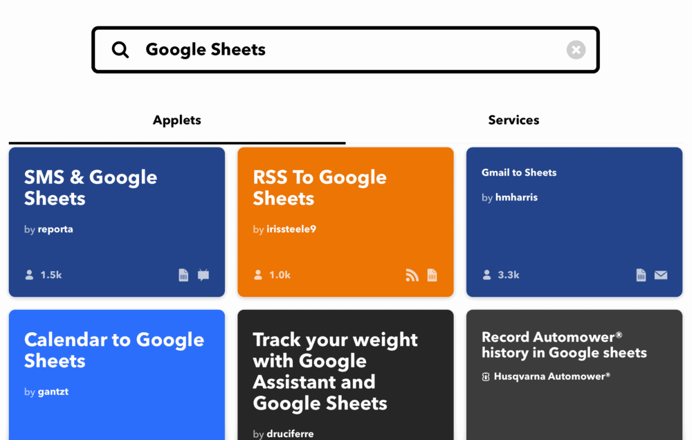 IFTTT applets with Google Sheets