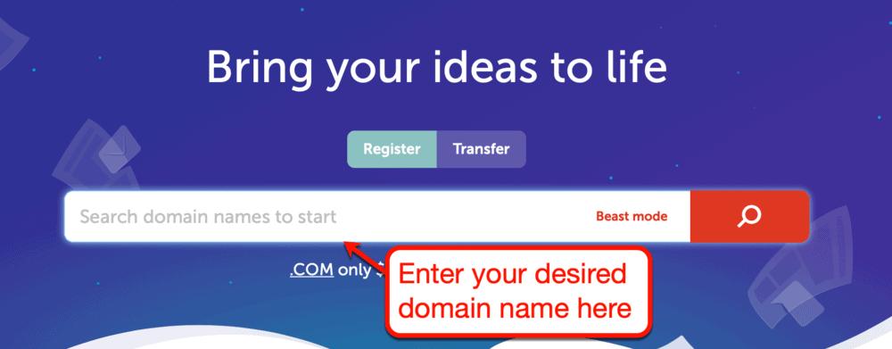 NameCheap domain search interface