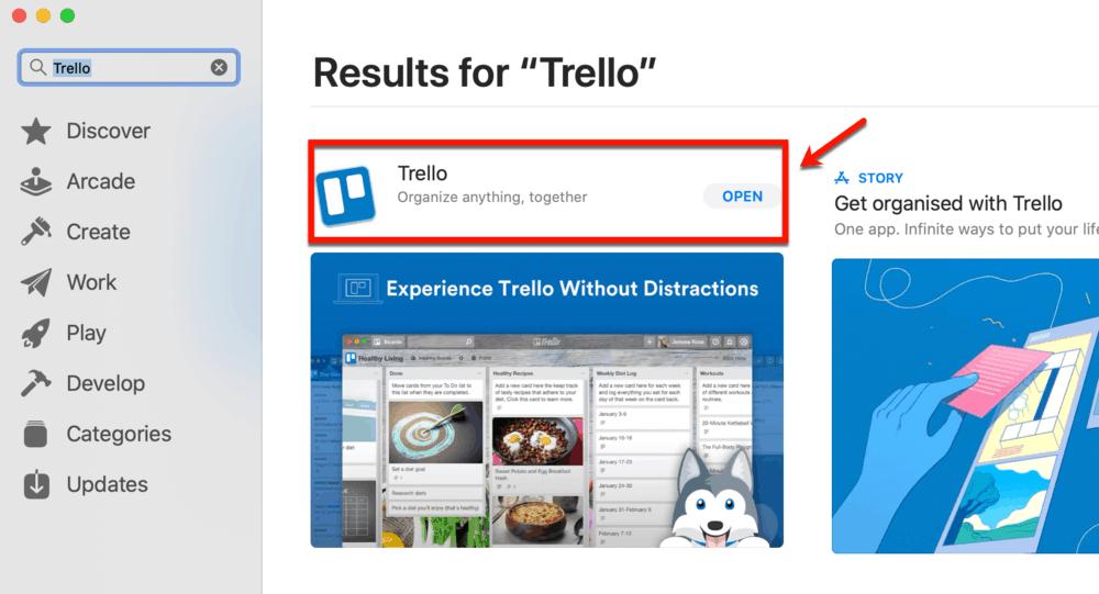 Trello in Apple app store