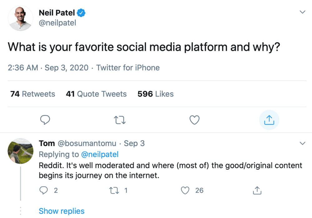 Twitter question by Neil Patel