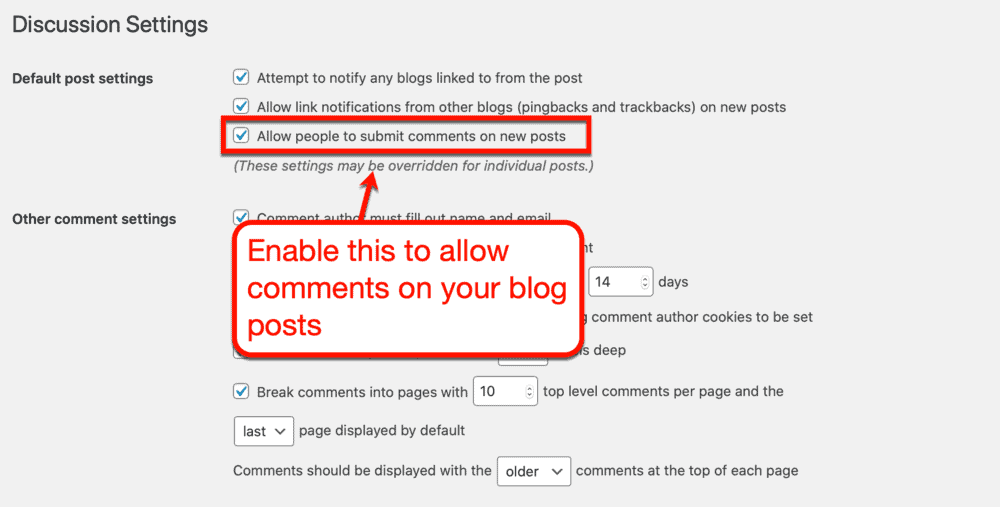WordPress allow comments option