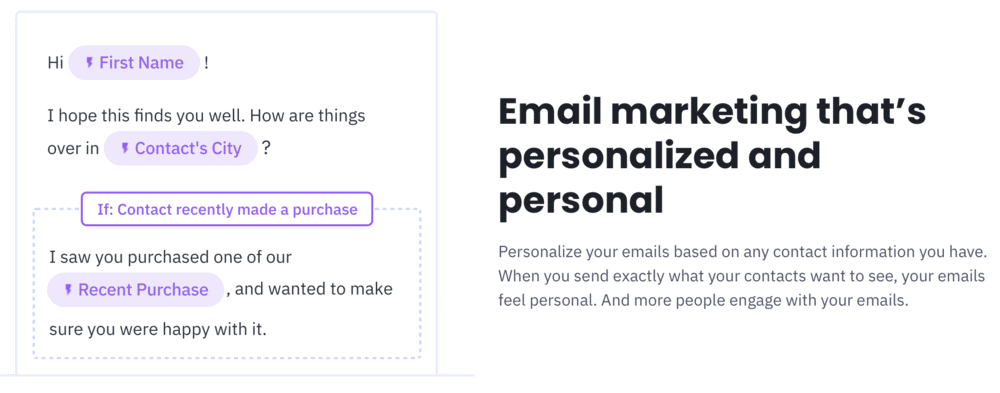 ActiveCampaign personalization features