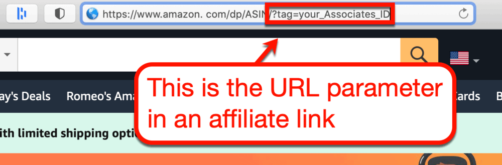 Affiliate link from Amazon example