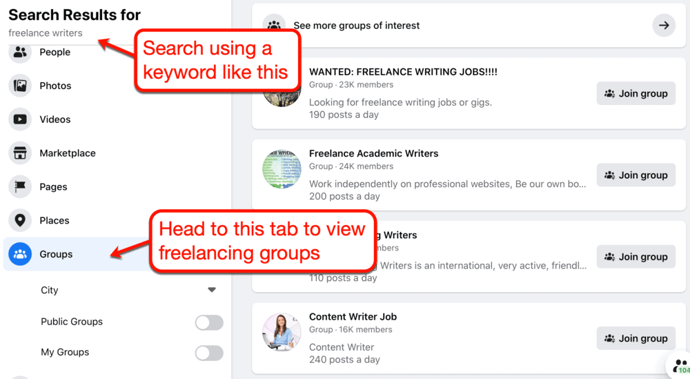 Searching for freelancer groups on Facebook