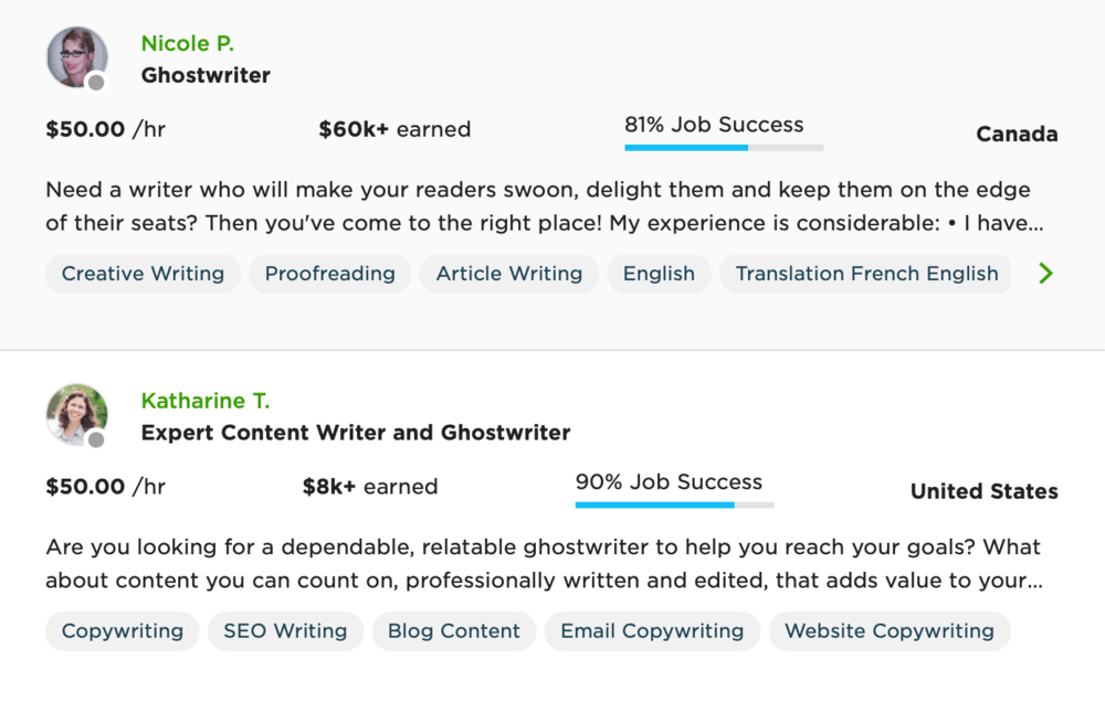 Ghostwriters for hire