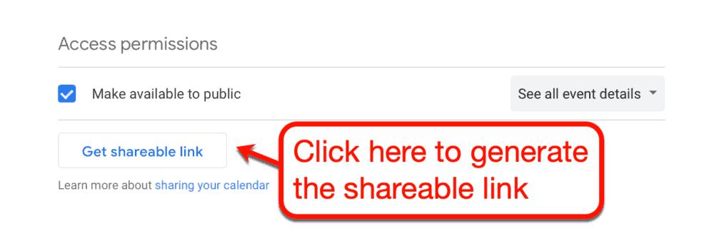 Google Calendar access permissions