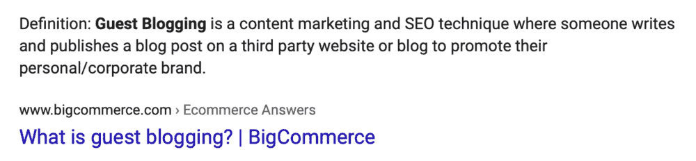 Google Definition of Guest Blogging