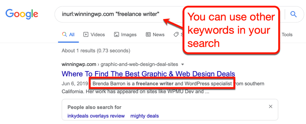 Google search for freelancers with broader keyword