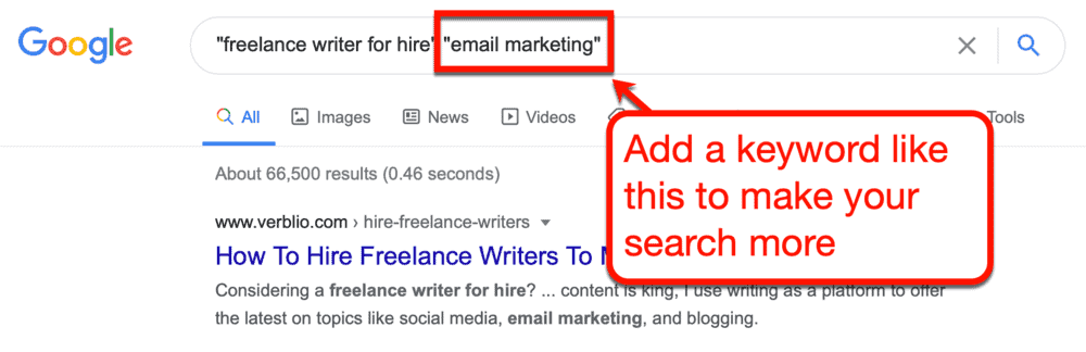 Google search for email marketing writers