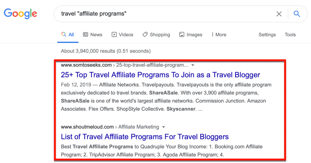 Google top affiliate programs for travel bloggers