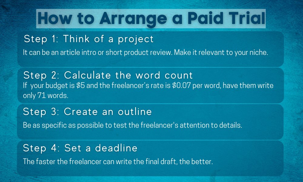 How to arrange a paid trial for freelancers