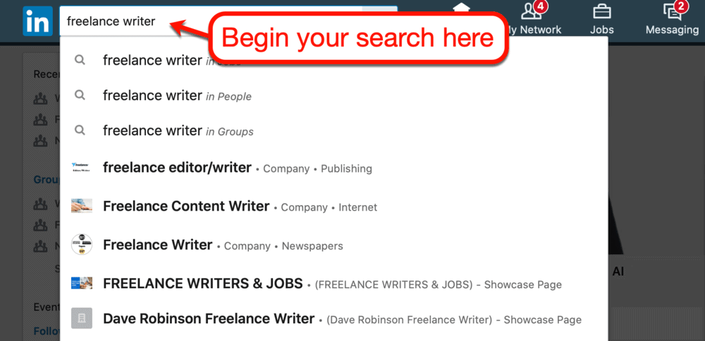 Searching for freelancers on LinkedIn