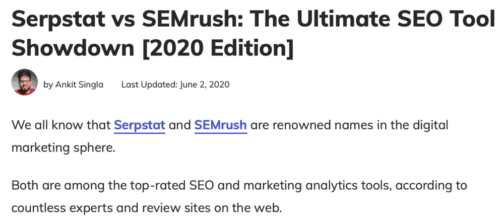 Reviewing both Serpstat and SEMrush