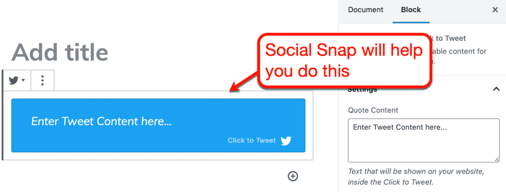 Click To Tweet Gutenberg Block from Social Snap