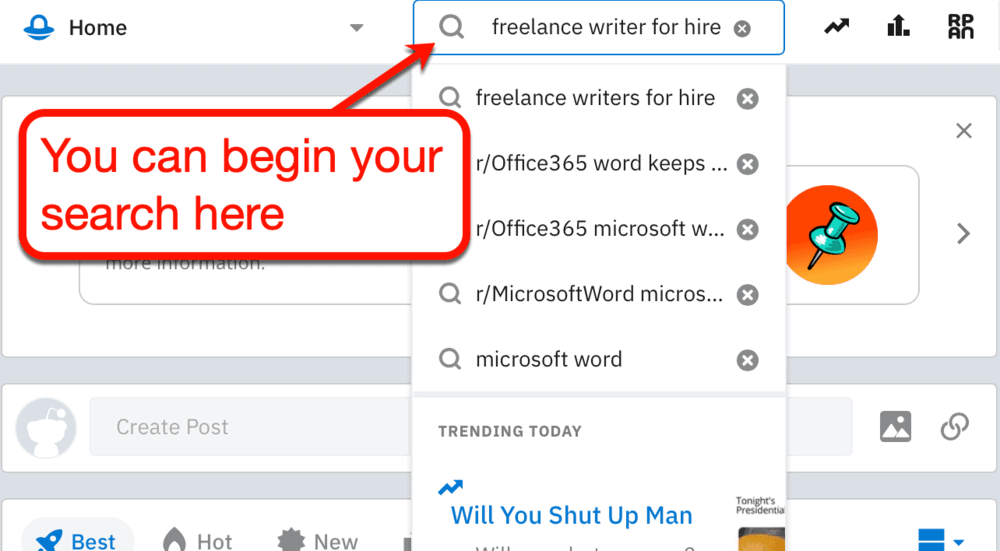 Searching for freelancers on Reddit