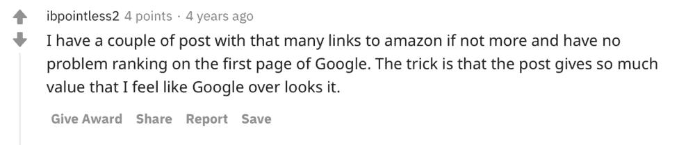 Reddit affiliate link count