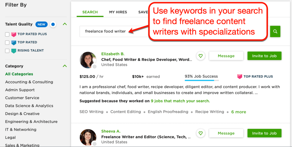 Searching for freelance food writers on Upwork
