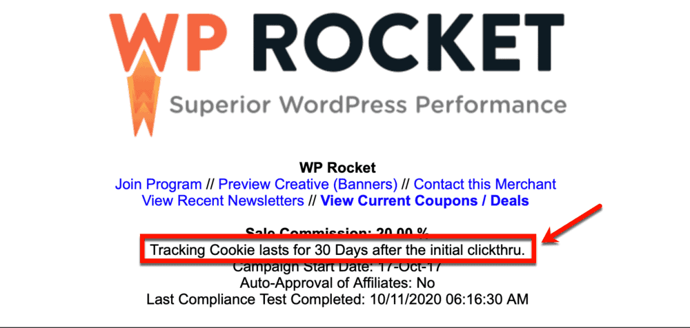 WP Rocket affiliate cookie duration
