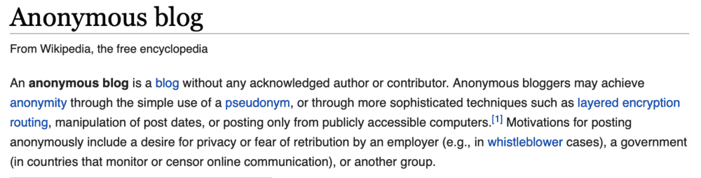 Wikipedia Definition of Anonymous Blog