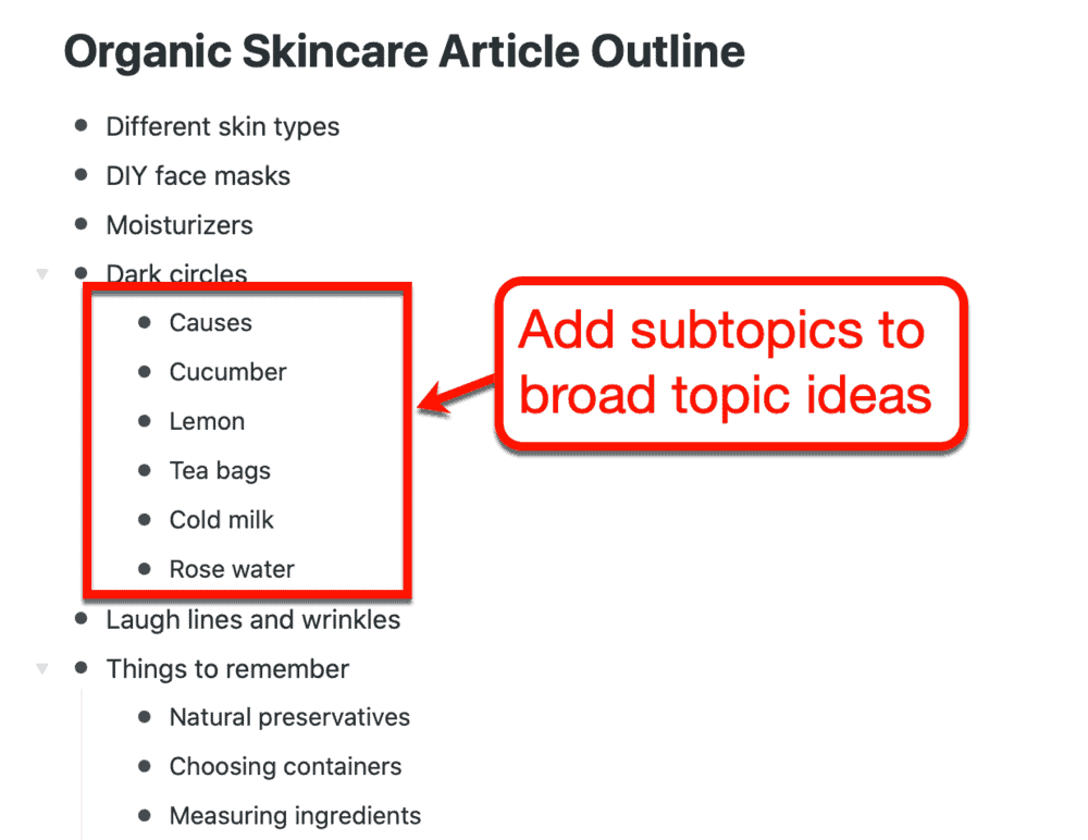 Adding subtopics to your list