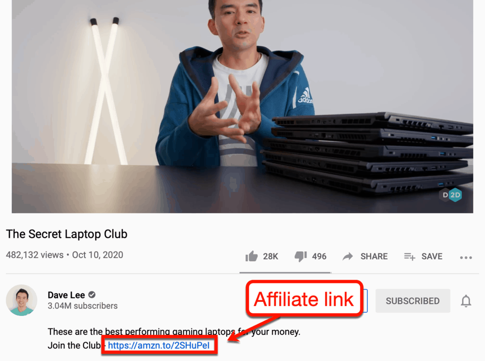 Affiliate link on YouTuber David Lee's video